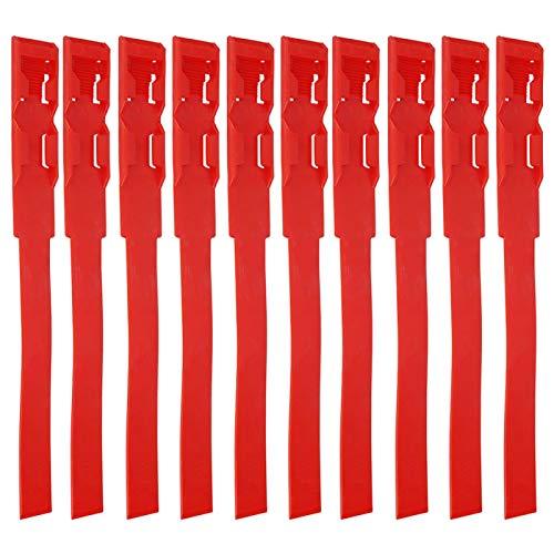 Qqmora Collares de identificación de identificación, 4 Colores, Suministros para Mascotas, 10 Piezas de plástico para identificar Animales para la Granja(Rojo)