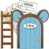 Puerta Ratoncito Pérez azul con escalerita y recibos oficiales 100% artesanal