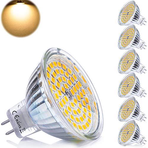 Yafido 6er GU5.3 LED Warmweiß MR16 12V 5W Ersatz für 35W Halogen Lampen GU5.3 2800K 400 Lumen Birne Leuchtmittel 120°Abstrahwinkel Spot Nicht Dimmbar Ø50x 48 mm