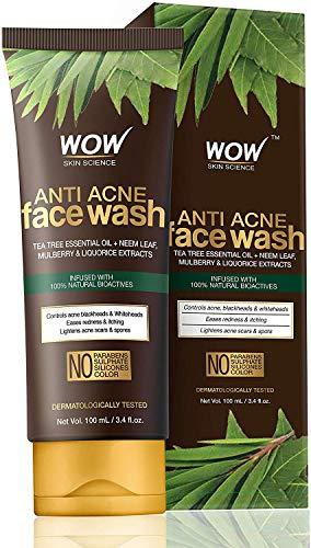 Glamorous Hub WOW Neem & Tea Tree Anti Acné Jabón facial suave Sin aceite Sin parabenos Sulfato Siliconas y color 100 ml (El embalaje puede variar)