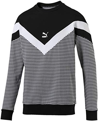 PUMA Men's Trend All Over Print MCS Crew Sweat Shirt, Cotton Black-Houndstooth, XX-Large