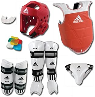 adidas Complete Taekwondo Sparring Gear Set with SHIN Instep - Blue - Adult-XLarge