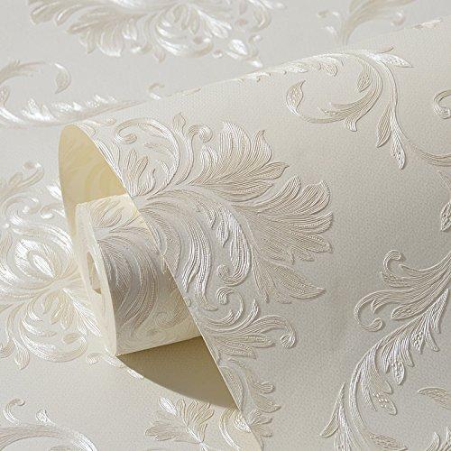 Tessuto non tessuto autoadesivo stile europeo carta da parati damascata carta da parati a rilievo in 3D soggiorno camera da letto sfondo parete bianco adesivi carta da parati. KaO0YaN