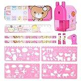 Kit de papelería, sacapuntas de estuche de lápices de dibujos animados Material escolar para niños Lindo multifunción para estudiantes(pink)