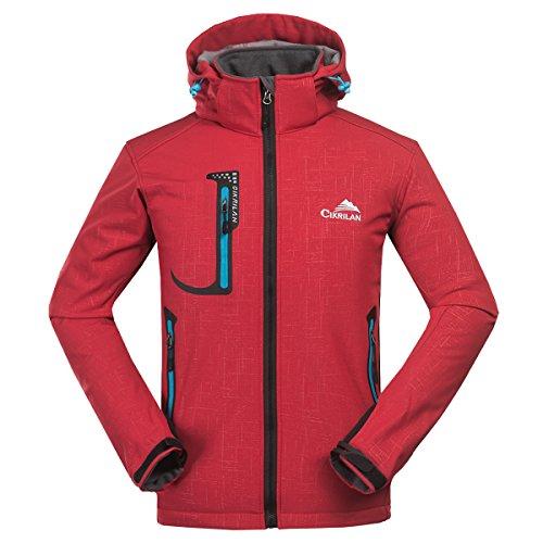 CIKRILAN Hombre Fleece Lined Softshell impermeable chaqueta de deportes al aire libre senderismo Trekking Coat (large, Rojo)