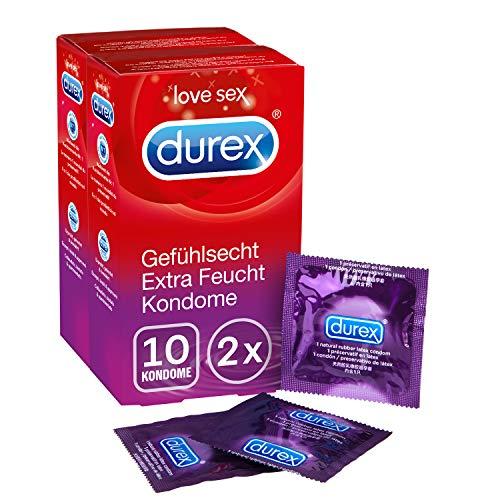Durex Gefühlsecht Extra Feucht Kondome – Hauchzarte Kondome für intensives Empfinden - mit extra Gleitgelbeschichtung – 2er Pack (2 x 10 Stück)