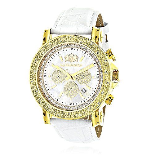 Large Mens Luxurman Diamond Watch 0.25ctw of Diamonds Yellow Gold Plated White MOP Escalade Leather Band