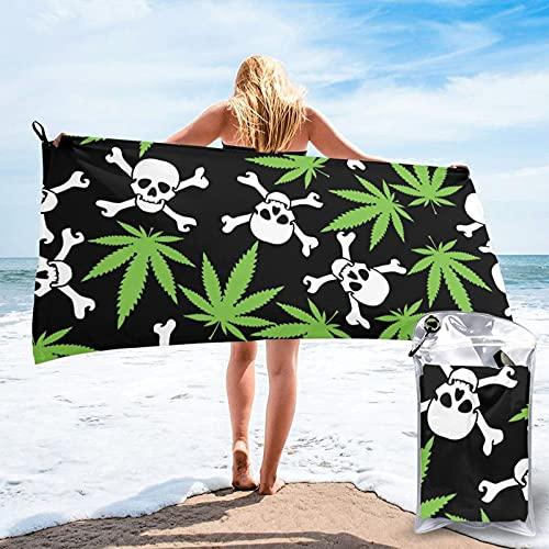 Donono Toalla de baño ligera de secado rápido, hoja de cannabis con calaveras, toallas absorbentes, grandes, manta de playa, para deportes, camping, viajes, picnic, 27.5 x 55 pulgadas