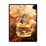 And Comfortable Space Cat Kitty On A Double Cheese Hamburger Custom Blanket 58' x 80' (Large)