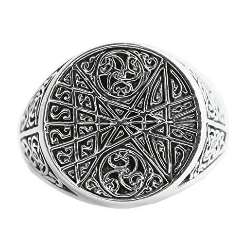 Blisfille Herren Ringe 925 Ring Herren Silber Silber Damen Herren Ring Unisex Ring Aus 925 Silbernem Blumenrattanfür Herren Ringgröße 60 (19.1)