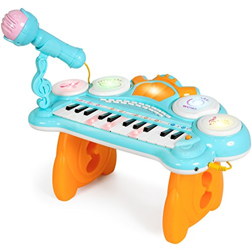 Best Choice Products Toddlers 24-Key Electronic Keyboard w/ Lights, Drums, Mic and MP3, Blue