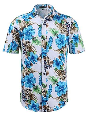 uxcell Uomo Slim vestibilità Stampa Floreale Manica Corta Bottoni Spiaggia Hawaiano Casual Camicia Stampa Floreale Turchese Bianco 56