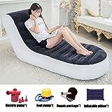 Zichen Klappstuhl Aufblasbarer Deluxe-Lounger-Stuhl für 1 Person mit Hockerauflage für