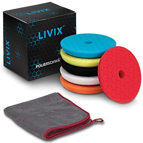 LIVIX Polierpads 150mm Hex-Logic im Set I Premium Polierschwamm mit 130mm Klett für optimales polieren I Inklusive Microfasertuch Autopflege I Perfektes Auto Politur Set