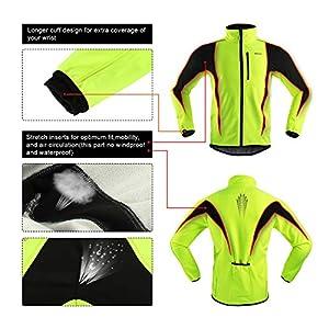 ARSUXEO de ciclismo Chaqueta de bicicleta transpirable térmica de invierno para hombre 15K Verde XXL