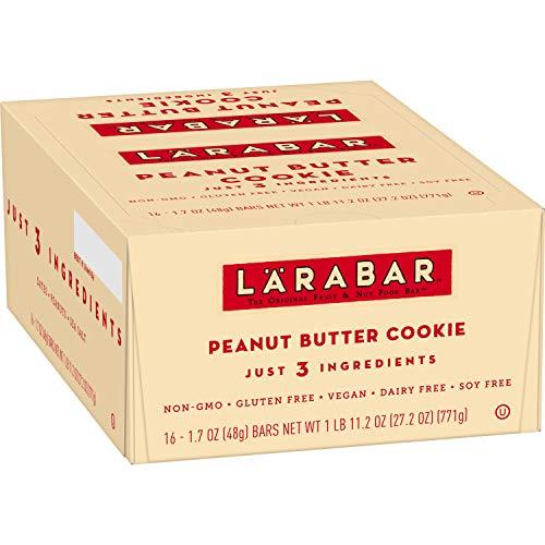 Larabar Gluten Free Bar, Peanut Butter Cookie, 1.7 oz Bars (16 Count), Whole Food, Dairy Free Snacks