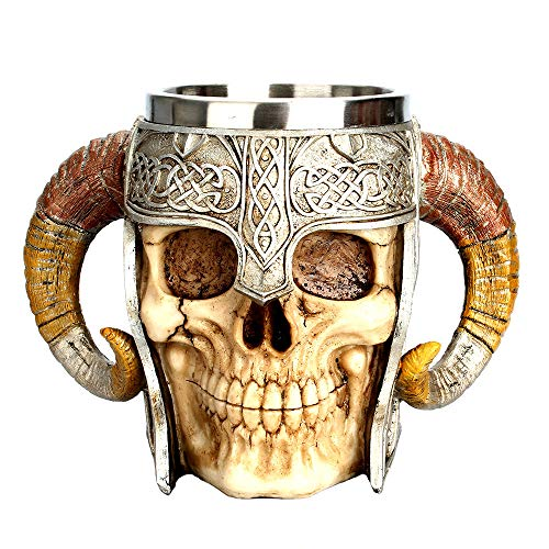 Moonite Viking Skull Drinkware Coffee Cup Beer Mug Gifts for Men, Stainless Steel Mug Double Wall Bar Cup Nordic Gifts for Halloween, Christmas,Home Decor,Birthday