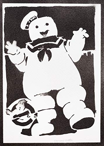 Ghostbusters Poster Die Geisterjäger Marshmallow Plakat Handmade Graffiti Street Art - Artwork