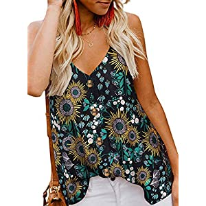 Women's Floral Print  Tank Tops Loose Casual Sleeveless Shirts Blouses