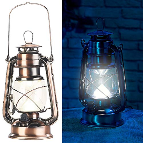 Lunartec Sturmlaterne: Ultra helle LED-Sturmlampe mit Akku, 200 Lm, 3W, warmweiß, Bronze (Akku Laterne)