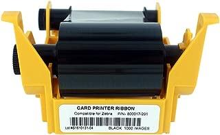 800017-201 Black Monochrome Ribbon for Zebra P11XX Card Printers, P100i P110i P120i Resin Ribbon, 1000 Prints