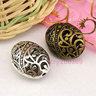 FidgetKute 6Pcs Tibetan Silver,Antiqued,Bronze Hollow Filigree Oval Spacer Beads M1375 Antiqued Silver