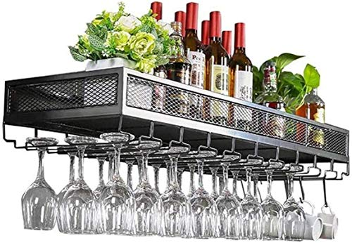 TUHFG Estante de vino para copas de vino de hierro montado en la pared para colgar en el techo, para bares, restaurantes, cocinas, estantes suspendidos del techo (color: negro, tamaño: 60 x 35 cm)