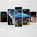 IIIUHU 5 Piezas Cuadro sobre Lienzo De Fotos Coche de Lujo clásico Pontiac GTO 1967 Lienzo Impresión Cuadros Decoracion Salon Grandes Cuadros para Dormitorios Modernos Mural Pared Listo para Colgar