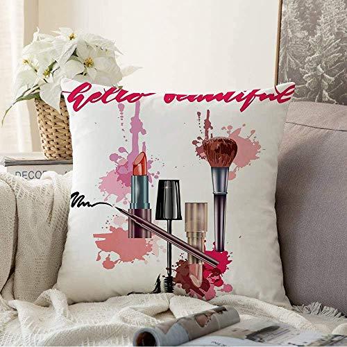 Fundas Decorativas para Cojines Funda de cojín Artístico Hola Hermoso Saludo Letras Frase de caligrafía Blogs de Belleza Objetos de Moda Trazo Funda de Almohada para sofá Sofá