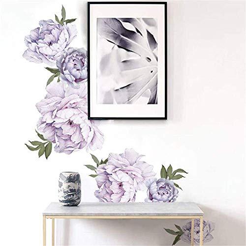 Esmee - Adesivi da parete con fiore di peonia viola, decorazione per la casa, decorazione del soggiorno, decorazione della camera dei bambini, decorazione della camera da letto