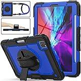SEYMAC stock Funda para iPad Pro 11 2020 & 2018, Funda de Protección contra Caídas Híbrida de con [Soporte Giratorio 360] Correa de Mano [Porta Lapices] para iPad Pro 11 Pulgadas(Azul+Negro)