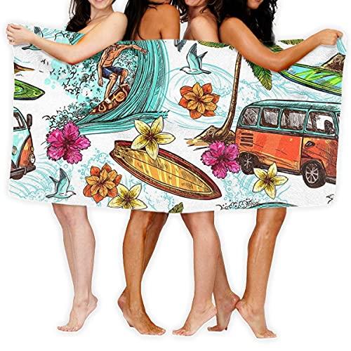 Lsjuee Toalla de Playa Hawaiian Surf Toalla de Playa Microfibra Súper Absorbente Personalidad Toalla de baño Manta de Playa de Secado rápido Toallas 130 x 80 cm
