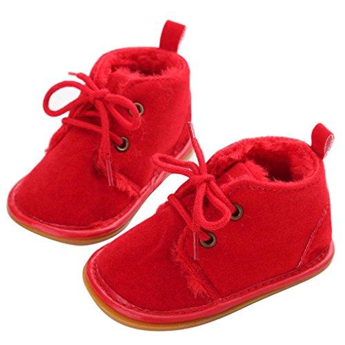 Mingfa Baby-Winterstiefel, warme und dicke Kleinkinder-Fellschneeschuhe zum Schnüren für Jungen und Mädchen, für das Kinderbett, erste Laufschuhe für 0 - 18Monate Age:6~12 Month rot