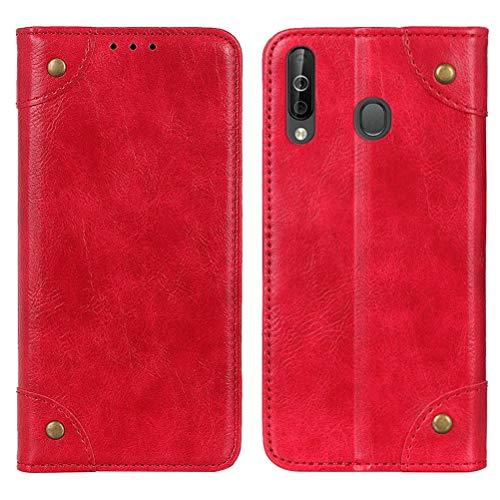 MOONCASE Samsung Galaxy A20S Hülle, Handyhülle Leder Tasche Brieftasche Kartenfach Klapp Hülle mit Standfunktion Magnet Flip Cover Schutzhülle für Samsung Galaxy A20S -Rot