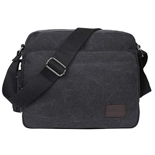 EGOGO Borse a Tracolla Uomo di Tela Borsa a Spalla Vintage Messenger Bag Sacchetto di Libro per Scuola Tasche da Viaggio Outdoor Sport Tasca E527-1 (Nero)