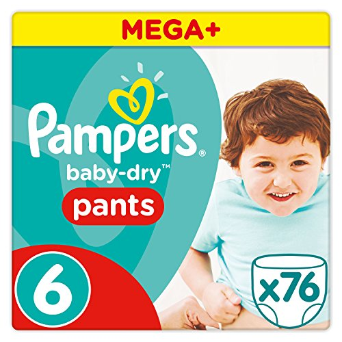 Pampers Baby Dry Pants Windeln, Gr. 6 (ab 15 kg), Mega Plus, 1er Pack (1 x 76 Stück)