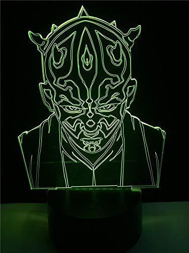 Lampada da tavolo a forma di cavaliere a forma di stella 3D a forma di cartone animato LED USB Camera da letto per bambini Mood Night Light Multicolor Home Party Table decorativo
