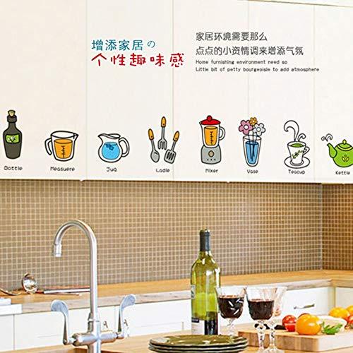 FlyonSticker Wand Aufkleber PVC-Modernen, Kreativen Cartoon Küchengeräte Sticker Mit 2 Dekorativen Zimmer Junge Mädchen Kinder Zimmer Fernseher Sofa Hintergrund Wasserdicht Abnehmbare