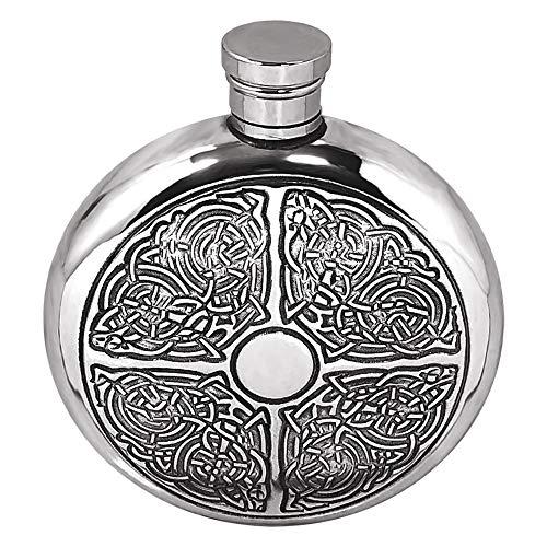 English Pewter Company Celtic Design 6 Unzen Runde Zinn Flachmann [CEL176]