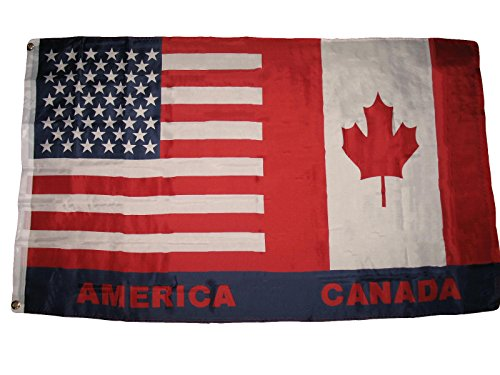 ALBATROS 3 ft x 5 ft USA Canada Canadian American Super-Poly Premium Flag House Banner for Home and Parades, Official Party, All Weather Indoors Outdoors