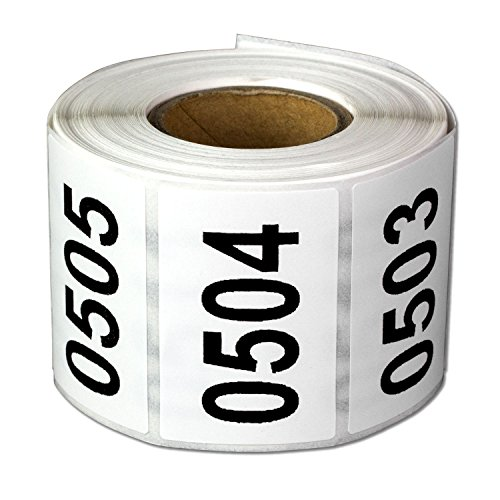 """Consecutive Number Labels Self Adhesive Stickers""""0501 to 1000"""" (White Black / 1.5 x 1 Inch) - 500 Labels Per Pack"""