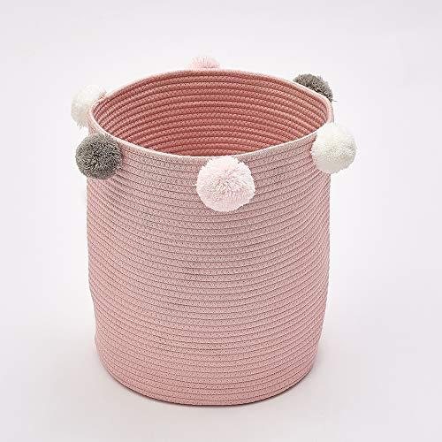 Tyhbelle Faltbare Aufbewahrungskorb mit Bommeln Kinderzimmer Aufbewahrungsbox aus Baumwoll - Grau/Pink/Blau (Pink)
