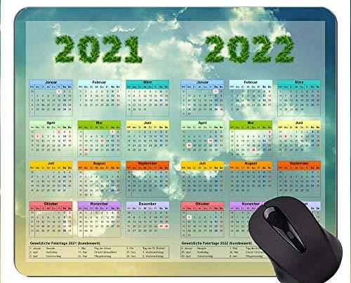 Kalender für 2021 2022 Jahre mit Feiertagen Personalisierte Mauspad, Clear Sky Gaming Mouse Mat