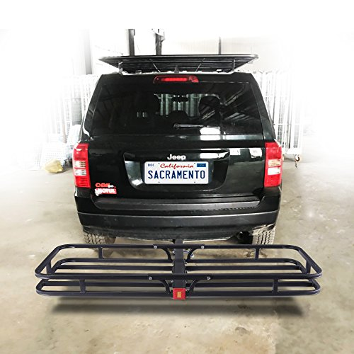 Orion Motor Tech Hitch Mount Steel Cargo Carrier Luggage Basket, Fits 2 Inches Receiver Hitch Hauler (Max. Load Capacity: 500 lb.)