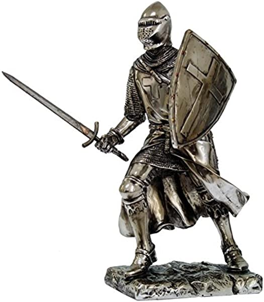 Crusader Knight Statue Silver Finishing Cold Cast Resin Statue 7 8714
