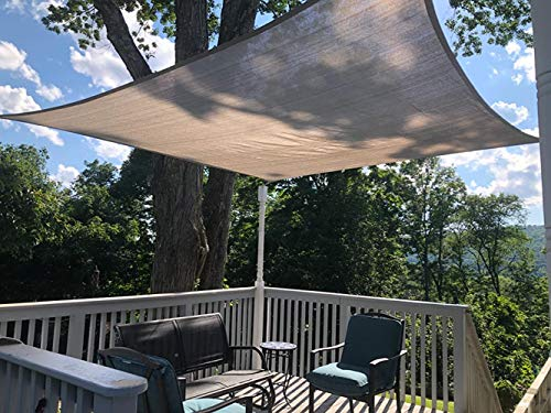 SHONCO Sun Shade Sail, 2×3 m Rectangle Shade Cloth Block Sunshade Fabric - HDPE Breathable UV Block Outdoor Shade Sail for Pergola Backyard Garden Yard Patio, Grey