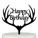 LOVENJOY Gift Boxed Antler Happy Birthday Cake Topper Black, Frosted Acrylic