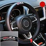 Gooogo Black Carbon Fiber Luxury Leather Silverado Z71 Car Steering Wheel Cover Auto Anti-slip Protector 15'' For Chevy Silverado (Z71)