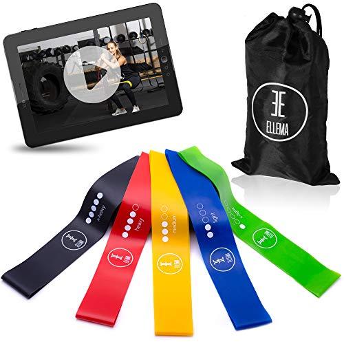 ELLEMA Mini Bands [inkl. Online Video-Training] 5er Set Resistance Bands +Tasche - Widerstandsbänder Set für Fitness - Jedes Booty Band eine eigene Stärke - die kleinen Power Fitnessbänder