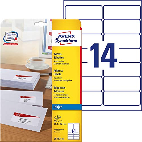 AVERY Zweckform J8163-25 Adressetiketten/ Adressaufkleber (99,1x38,1mm auf DIN A4, bedruckbar, selbstklebend, ideal für DIN lang Kuverts, Papier matt, für Inkjet-Drucker, 350 Etiketten, 25 Blatt) weiß